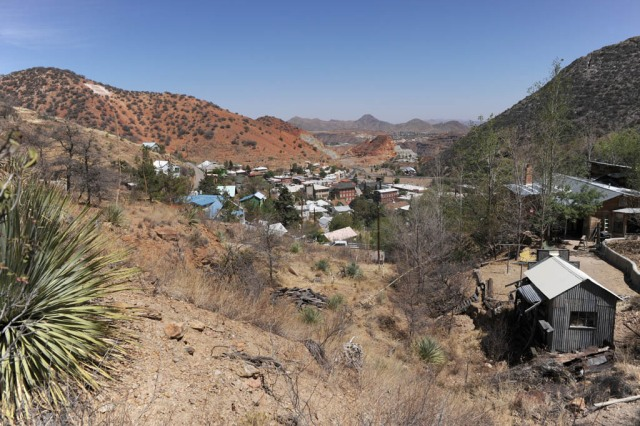 The town of Bisbee with the Lavender Pit in the distance