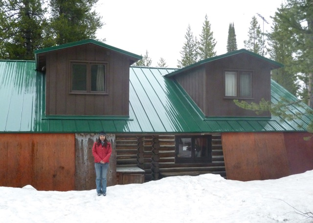 Adel and the St. Clair cabin, both still bundled up for the winter