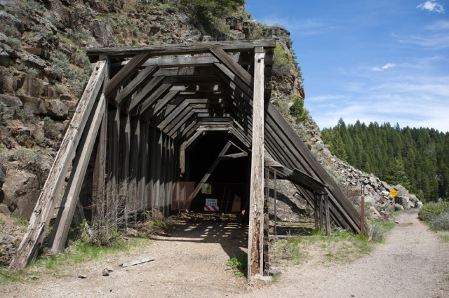 Hiking near Bear Gulch, Idaho on a rails-to-trails path
