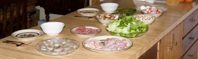 Fresh ingredients for steamboat dinner, yummmm! Thanks