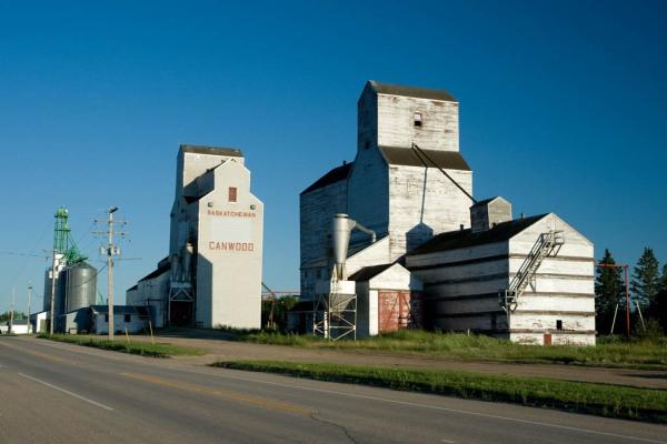 Grain elevators in Canwood, SK.