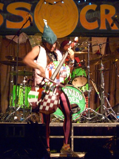 """The ridiculously talented Rushad Eggleston of Tornado Rider playing the electric cello to the song """"The Goat God"""""""