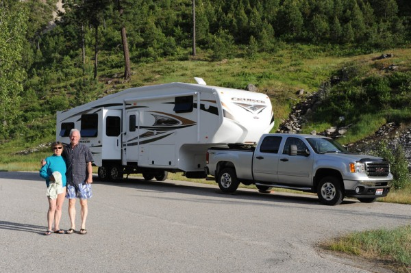 """Mom and Dad with their """"rig"""", ready for a retirement of land yachting the continent!"""