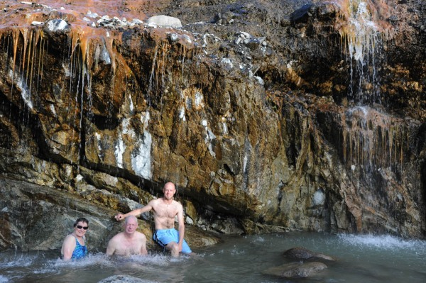 Soaking at Kirkham Hot Springs on the South Fork of the Payette River.