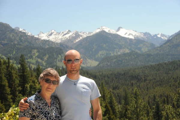 Mom and I with the Sawtooths behind. (Photo by Dad)