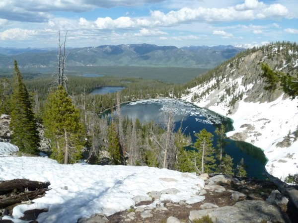 Little Redfish Lake, Redfish Lake, and the 1st, 2nd, and 3rd Bench Lakes viewed from the 4th Bench Lake.