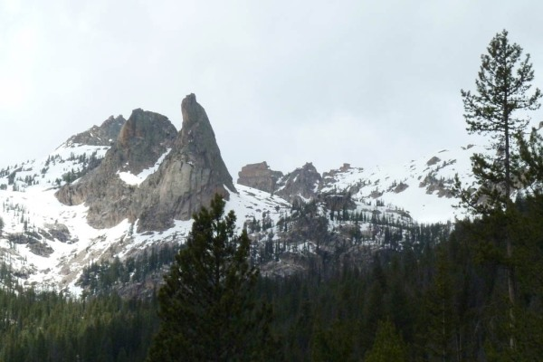 Looking up at the Finger of Fate (9,775') above Hell Roaring Lake.