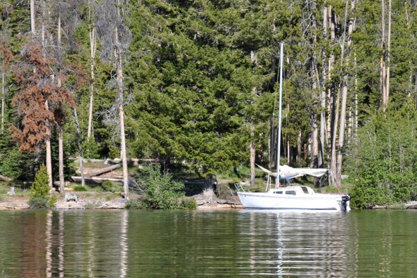Someone peacefully anchored on Redfish Lake, a sign of my year to come. (Photo by Dad)