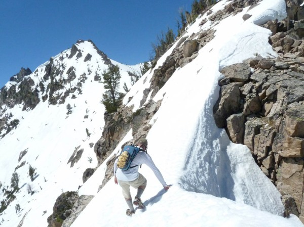 Nearing Baron Divide, if only I could have temporarily traded my running shoes for crampons and skis!