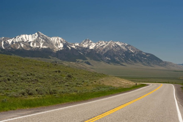 The open road on the way home, with Mount Borah (Idaho's highest peak at 12,662') on the left.