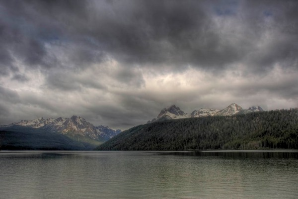 Threatening morning rain clouds over Redfish Lake - HDR