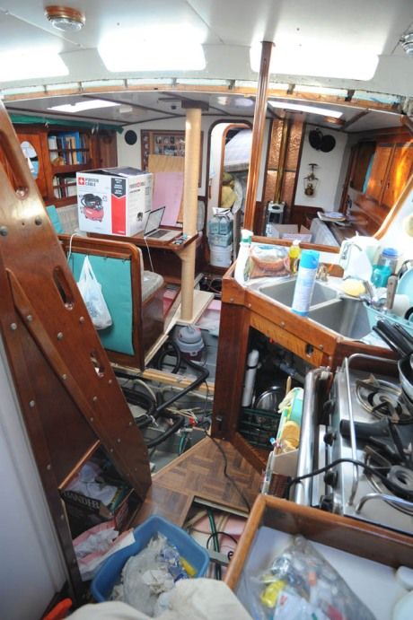 The cabin disassembled to dry out the bilges.