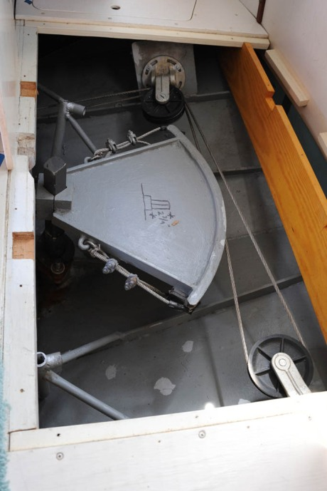 The steering quadrant before removal from the rudder shaft.