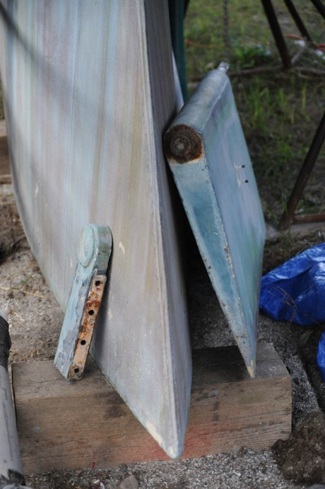 Rudder and shoe removed and resting against the keel.