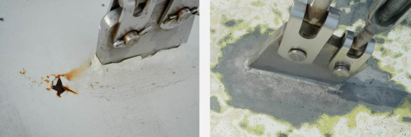 Rust around the chainplates on deck, before and after sandblasting.