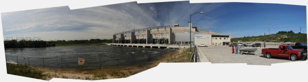 The Grand Rapids generating station running at maximum capacity due to the spring flooding. - Composite image.