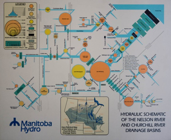 The Grand Rapids generating station is on the upper-left of the orange Lake Winnipeg circle on this diagram.