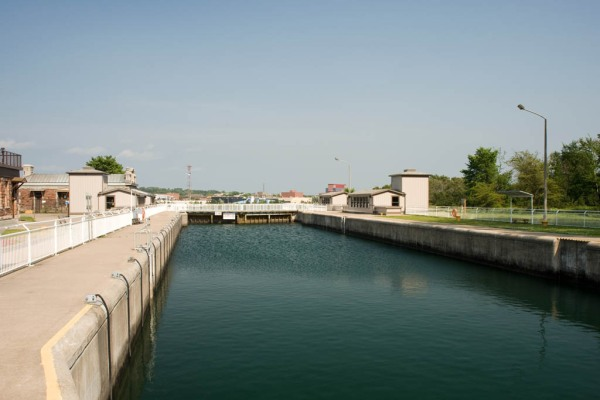 The historic Sault Ste. Marie Canal lock.