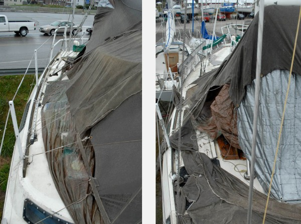 A decade of tarps over the cockpit and after deck.