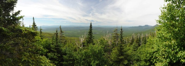 Looking out over Baxter State Park from the slopes of Mount Katahdin. - Composite Image