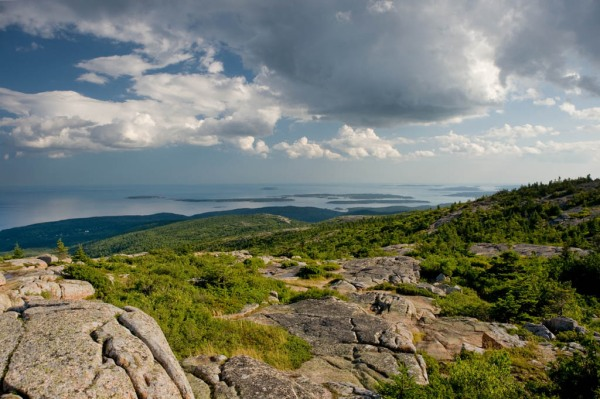 The Atlantic Ocean viewed from the summit of Cadillac Mountain (1,530') in Acadia National Park. - Composite Image.