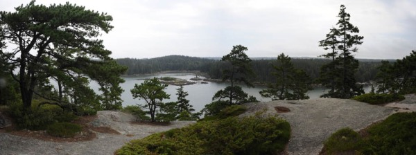 Panorama from Starboard Rock on Vinalhaven Island. - Composite Image (Photos by Kate)