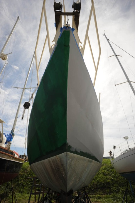 First coat of green on the starboard side. The cover was quite light and required three coats.