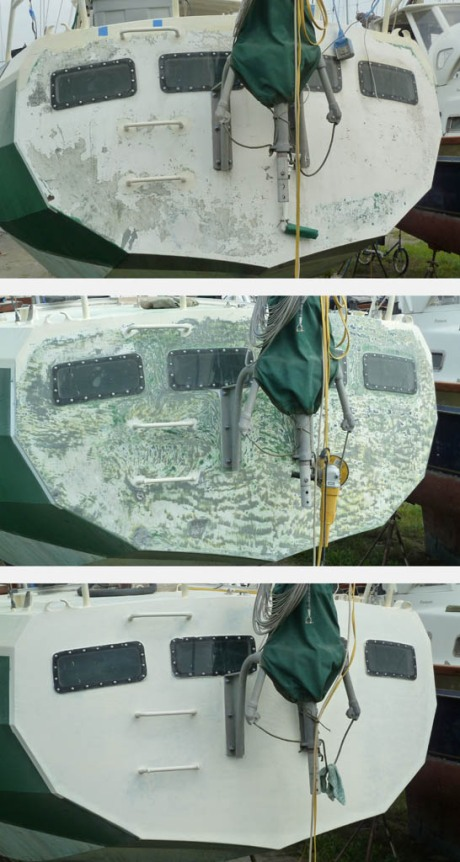 Though technically part of the topsides, the transom had sat south-facing for 11 years and was in worse shape than the deck. So, it received the same treatment. Top - decaying as found. Middle - ground and sanded. Bottom - after 3 coats of epoxy primer.
