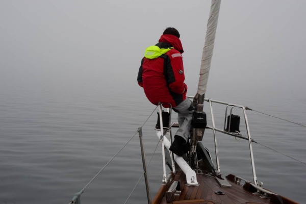 Santiago keeping watch on the bow for anything the RADAR may have missed.