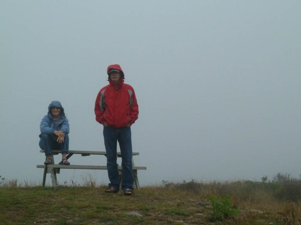 Mom and Dad atop the highest point on Cuttyhunk Island, which rises about 150' above sea level.