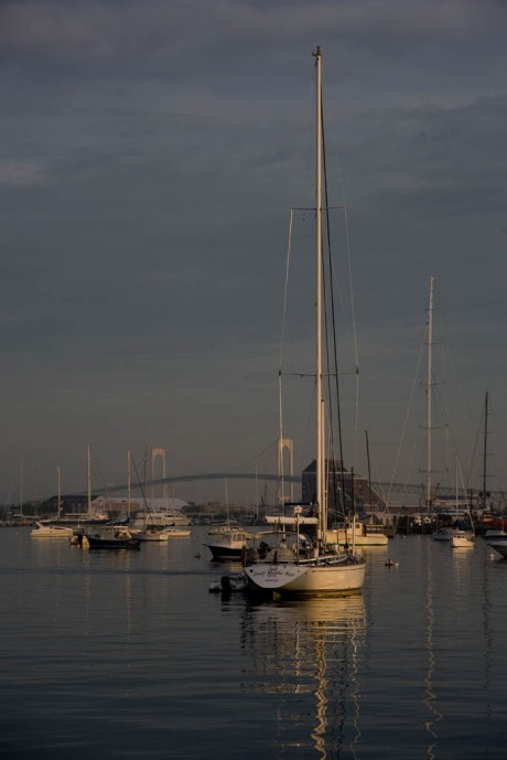Morning light. Note the mast of Mirabella V in the distance on the right, tallest mast in the world at 292' above water.