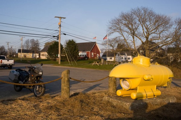 A personal submarine at the Keag Store in South Thomaston. Is it just me or does it look designed to accommodate a camel's hump?
