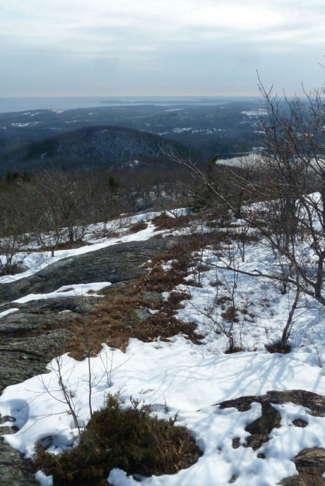 View of Rockland Harbour and the Atlantic Ocean from atop Ragged Mountain.