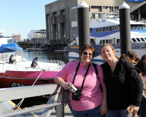 Taryn and Kelli waiting for a Boston ferry.