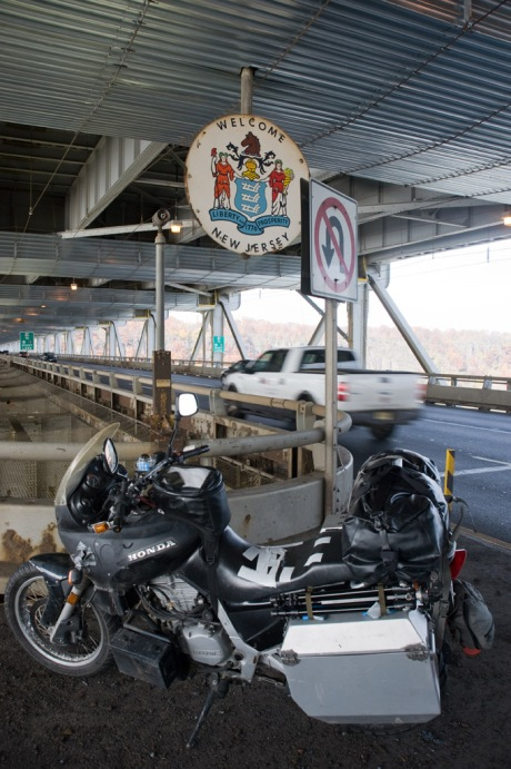 """Stopping for a """"state line"""" picture while suspended over the Husdon River on the George Washington Bridge."""