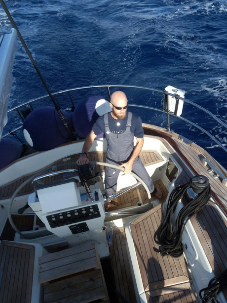 There's nothing like steering the perfectly balanced helm of a beautifully trimmed 60 ton vessel through blue water at 9-10 knots.
