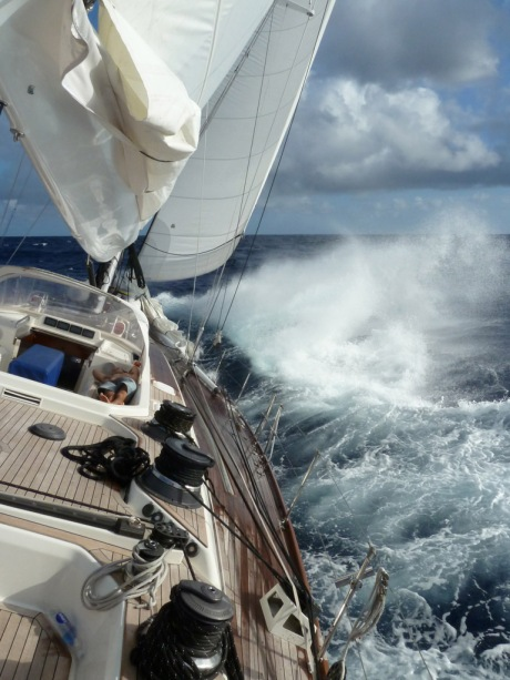 Charging into the Gulf Stream under full jib and double reefed main.
