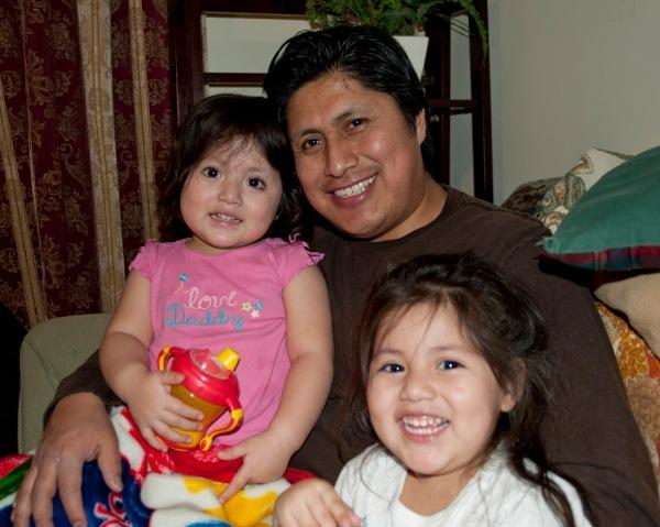 "Hernan and the ""conejas locas"" (crazy rabbits), Daniella and Christina."