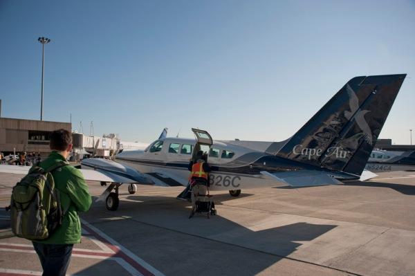 Boarding the Cape Air flight in Boston, MA.