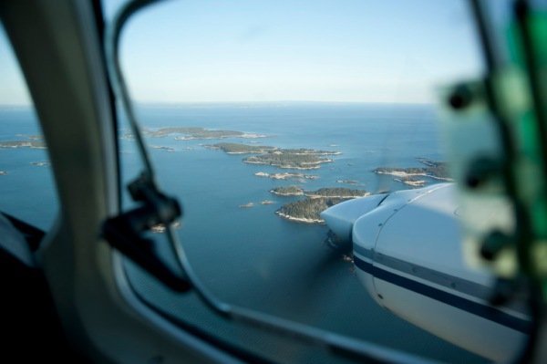Maine islands as seen from the co-pilot's seat.