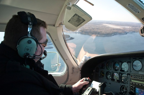 Scott the pilot banks into final approach at the Knox County Airport in Rockland, ME.