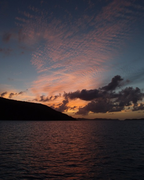 Sunset over a secluded Virgin Gorda anchorage.
