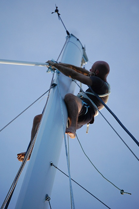 No sail is complete without having to scale the mast to fix a fouled halyard!