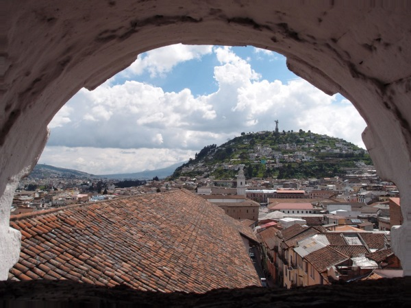 Looking out at the Panecillo from the bell tower of the Santa Catalina Monastery in Quito.