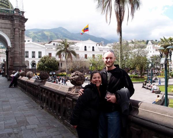 Lucy and I at the Palacio de Gobierno in Quito, the Ecuadorian equivalent to the White House in Washington, D.C.