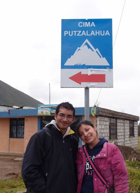 Diana and her friend Freddy posing at the base of the mountain we're about to hike up.