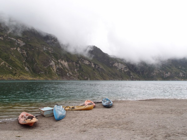 Kayaks for rent to explore the lake. Apparently there's a hot springs on the far side of the crater.