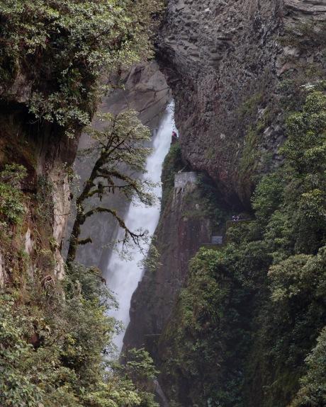 View of the Pailón del Diablo waterfalls from the suspension bridge over the Rio Pastaza.