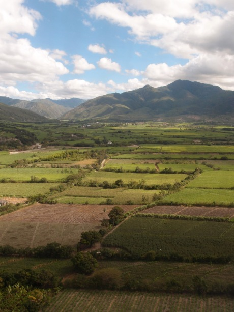 About to land in a lush valley near Loja.
