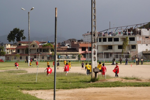 Kids playing fútbol in one of Loja's many city parks.